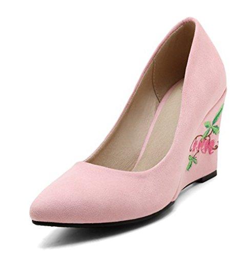 Aisun Damen Spitze Zehen Low Top Keilabsatz Blumen Stickerei Pumps Für Arbeit Rosa