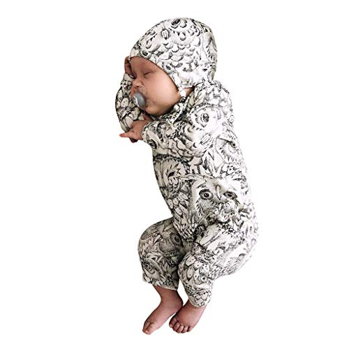 Baby Organic Long-Sleeve One-Piece Coverall with Cap Set(White,12-18 Months)