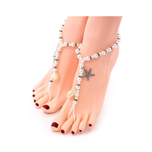 Beach Sandal Charm - Gudukt Starfish Shells Barefoot Sandals Bridal Foot Jewelry Charm Beads Women Beach Anklet Chain