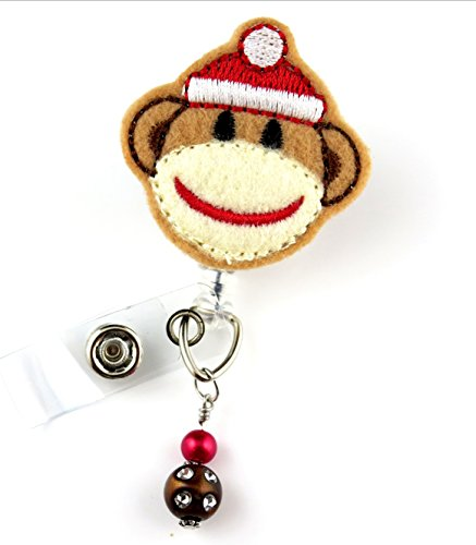 Christmas Sock Monkey - Nurse Badge Reel - Retractable ID Badge Holder - Nurse Badge - Badge Clip - Badge Reels - Pediatric - RN - Name Badge Holder
