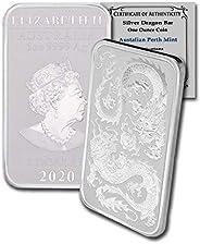 2020 AU Australia 1 oz Silver Dragon BU w/COA In CoinFolio Coin Flip $1 Brilliant Uncirculated