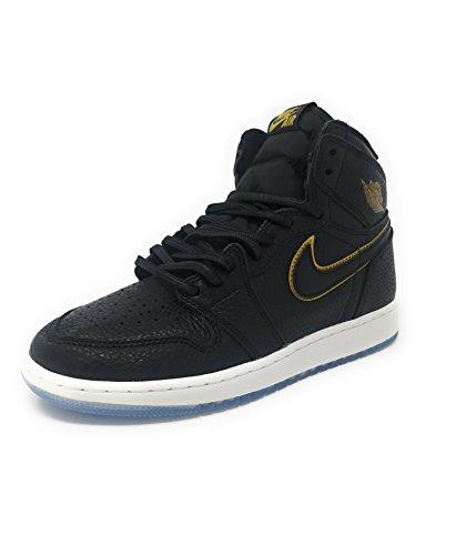 Jordan Nike Kids Air 1 Retro Hi OG BG Black/Metallic Gold Basketball Shoe 6 Kids US ()