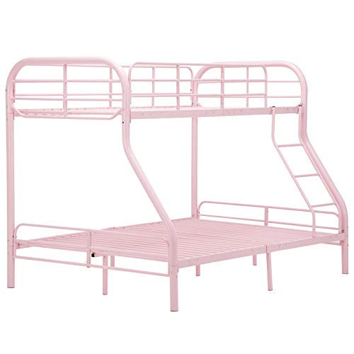 (Cypressshop Metal Bunk Bed Metal Frame Twin Over Full Size Kids Teen Bedroom Guest Dormitory Sleepers Bedroom Sleeping with Ladders Safety Pink Color Home Furniture)