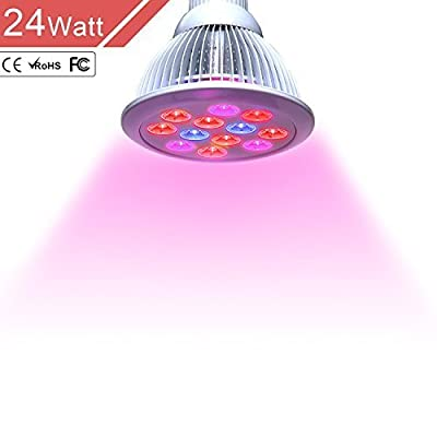 Outtled LED Grow Light 12W/24W, Highest Efficient Hydroponic LED Plant Grow Lights E27 Growing Lamp for Garden Greenhouse in Best 3 Bands Growing Combination (660nm and 630nm Red and 460nm Blue)