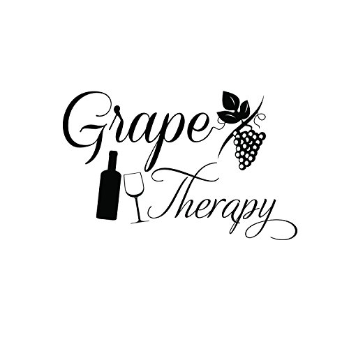 Grape Therapy Funny Wall Decals - Vinyl Wall Art Decal - Funny Wine Quote Wall Decals - Living Room Wall Decor Stickers - Winery Signs - Bar Decals (9