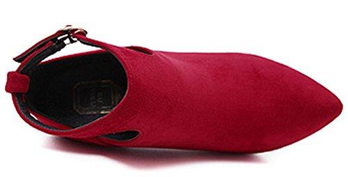 Idifu Kvinna Snygga Cut Out Spänne Stilett Höga Klackar Spetsig Tå Martin Boots Red