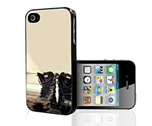 Black Combat Boots on Tan Background Hard Snap on Phone Case (iPhone 4/4s)