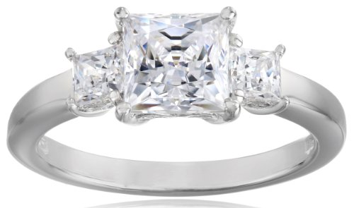 Platinum-Plated Sterling Silver Princess-Cut 3-Stone Ring made with Swarovski Zirconia (2 cttw), Size 7
