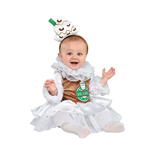 Suit Yourself Barista Coffee Costume for Babies, Size 6 Months to 12 Months, Includes Coffee-Themed Dress and Headband