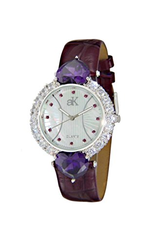 Adee Kaye Sweet Heart Purple Leather Ladies Watch AK2424-RD/PUR