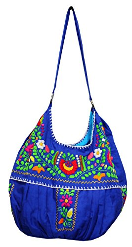 Embroidered Mex Del Purse Mexican Handbag Blue Bag Tote Hand OvAqSTAxw