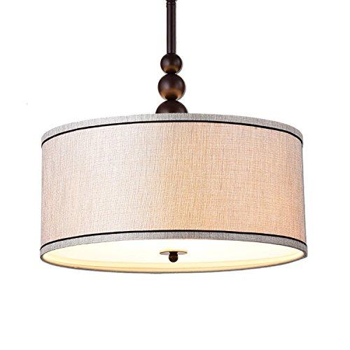 ge Modern Glass 3-Light Kitchen Chandeliers, Oil Rubbed Bronze Drum Shade Gauze Etamine Hanging Pendant Light ()