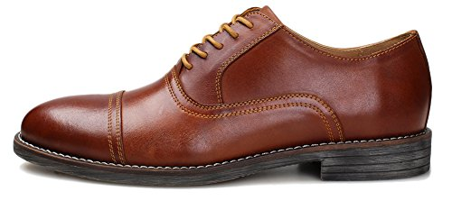 Kunsto Men's Leather Cap Toe Oxford Shoes Lace Up US Size 8 Brown