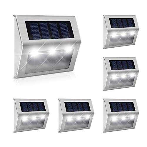 [Exclusive 3 LED] 6 Pack Hot New Brighter Outdoor Solar Powered LED Solar Step Light Outdoor Stainless Steel Solar…