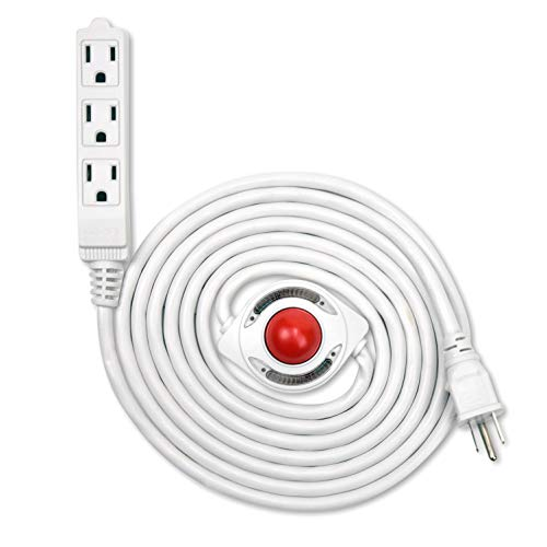 (NEW! Electes 10 Feet 3 Grounded Outlets Extension Cord with Foot Switch and Light Indicator, 16/3, White - UL)
