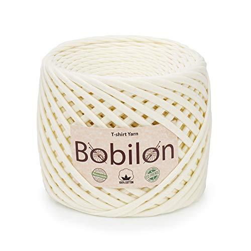 T-Shirt Yarn Fettuccini Zpagetti Style - Tshirt Yarn for Crocheting - Ribbon Yarn 100% Cotton - Knitting Yarn Ball - T Yarn Organic - Macrame T-Yarn - Thick Fabric Yarn - Jersey Yarn Vanilla