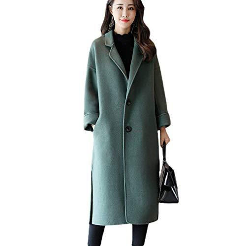 Yasminey Donna Giacca Vento Invernali Lunga Trench Manica Button Tasche Laterali Bavero Giovane Spacco Parka Casual Di Alta Qualità Coat Verde