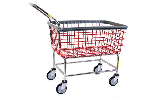(R&B Wire 200F Large Capacity Wire Rolling Laundry Cart with Clean Wheel System and Handle - Red)