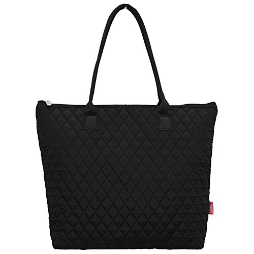 Solid Black Print NGIL Quilted Tote Bag