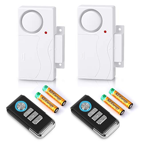 Wsdcam Wireless Remote Door Alarm Windows Open Alarms Magnetic Sensor Pool Alarm for Kids Safety Home Security, 110 dB Loud, Battery Included (2 Alarms with 2 Remotes)