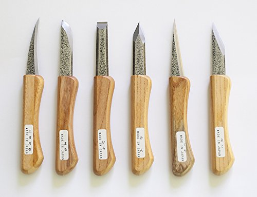 Yataro Japanese Blue Steel Wood Carving Knife Set 6 piece
