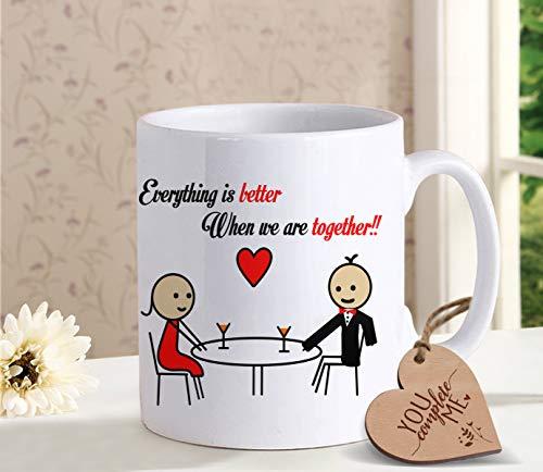TIED RIBBONS Anniversary Birthday Romantic Gifts for Men Women Husband Wife Girlfriend Boyfriend Him Her Girls Coffee Mug with Wooden -