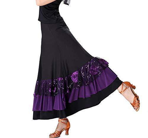Women's Ballroom Waltz Quickstep Dance Group Gown Long Skirts Costumes Holiday]()