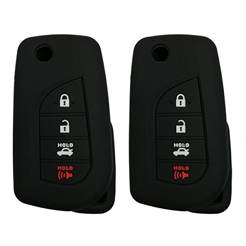 2Pcs Coolbestda Rubber 4buttons Flip Folding Key Fob Full Protector Remote Skin Cover Case Keyless Jacket for Toyota Camry 4-Runner RAV4 Highlander Yaris HYQ12BFB