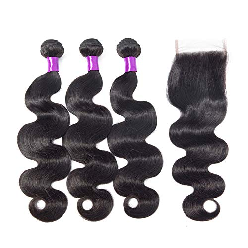 The rest of my life Human Hair Peruvian Body Wave 3 Bundles With Closure 44 Lace Closure With Bundles Natural Color Human Hair Extensions,22 22 22 with 20,Middle Part