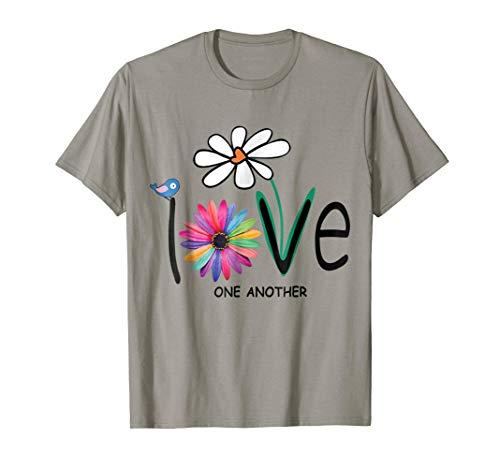Love One Another Daisy Bird Hippie Flower Gift T Shirt -