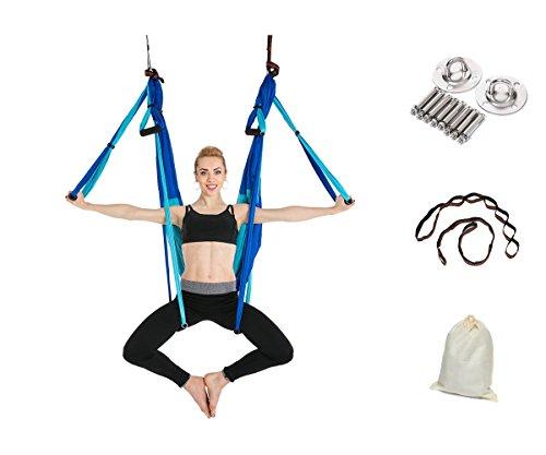 Gpeng Aerial Flying Yoga Hammock Set - Yoga Swing / Inversion / Sling Hammock with 2 Daisy Chain Adjustable Straps + All Installation Hardward + Installation Guide (DoubleBlue)