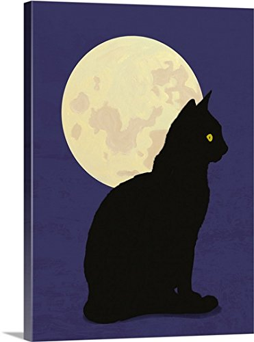 Canvas On Demand Premium Thick-Wrap Canvas Wall Art Print entitled Black cat and moon graphic hand painted illustration by Canvas on Demand