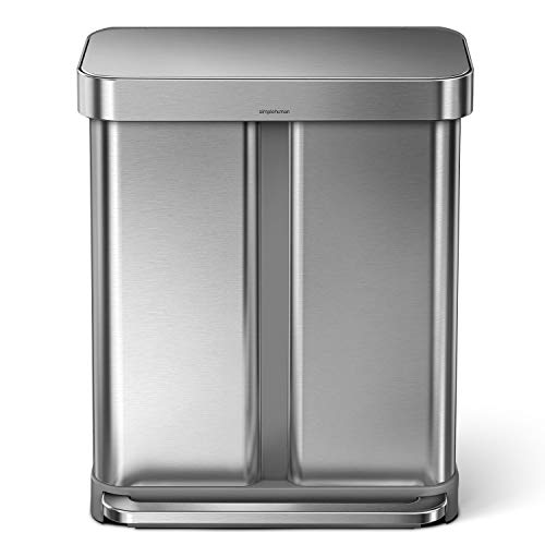 simplehuman 58 Liter / 15.3 Gallon Stainless Steel Rectangular Kitchen Step Can Dual Compartment Recycler, Brushed Stainless Steel
