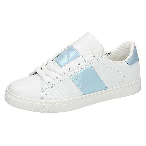 Spot On Damen Cemented Strip Trainers Weiß/Blau