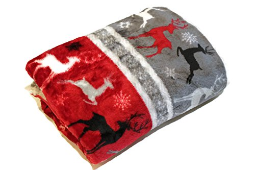 Morgan Throw - Morgan Home Winter Christmas Reindeer Snowflake Throw Blanket, 50-inch x 60-inch