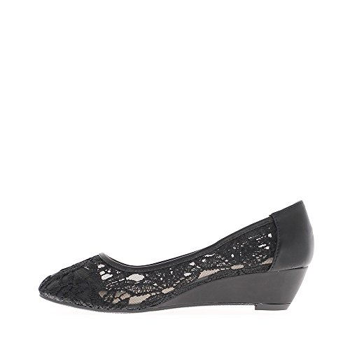 Chaussures femme compensée noires talon de 4cm