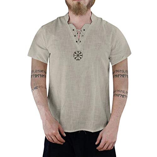 Mens Linen Shirts Beach Tronet Men's Summer Fashion Pure Cotton and Hemp Short Sleeve Comfortable Top