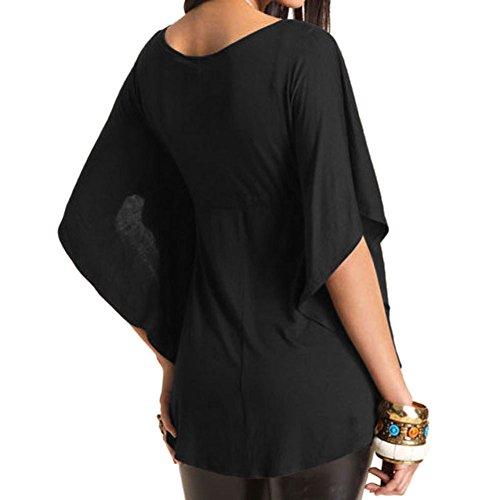 Simple Uni Tunique Femmes Chemise Evase Blouse V Hauts Manche Courte Casual Noir Sexy Col Shirt LAEMILIA Taille Grand 6vdw5qvPx