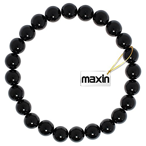 Natural Genuine Black Onyx Beads, maxin Bling Jewelry 8MM Semi-Precious Gemstones elastic Bracelet,Unisex