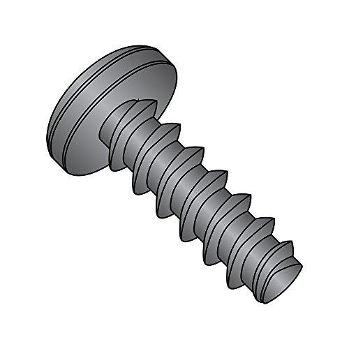 Steel Thread Rolling Screw for Plastic, Black Zinc Plated, Pan Head, Phillips Drive, #4-20 Thread Size, 3/8