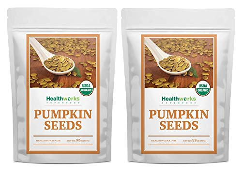 Healthworks Pumpkin Seeds (64 Ounces / 4 Pounds) (2 x 2 Pounds Bags) Organic Shelled | All-Natural & Unsalted | Great Snack with Salads, Baking, Cereal & Oatmeal