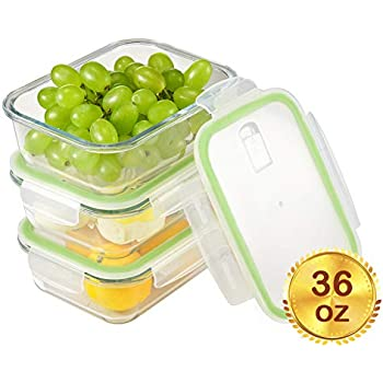 Glass Meal Prep Containers with Lids[3-Pack, 36oz],Airtight Glass lunch Containers,Glass Food Storage Containers BPA-Free,Microwave, Oven, Freezer, Dishwasher Safe