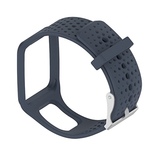 Jili Online Silicone Comfortable Wrist Sports Fitness Bracelet Band Strap Holder for TomTom Runner1 Multi-Sport GPS Watch - Navy Blue, 240x25mm by Jili Online