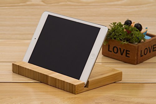 Tablet Stand Brief Stand for Tablets: Portable Natural Bamboo Stand Holder for iPad Mini, iPad Air / iPad Air 2, iPad Pro, Tab 2/3/4/note, Google Nexus, E-readers andOther Tablets