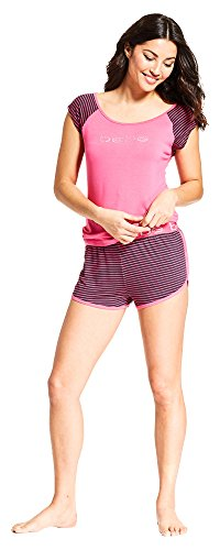 Center Stripe Cap - bebe Womens Scoop Neck Cap Sleeve Logo Top Striped Shorts Pajama Set Bright Pink Large