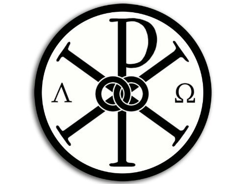 ROUND Alpha Omega Chi Rho Symbol Sticker (Chi Furniture Chi)
