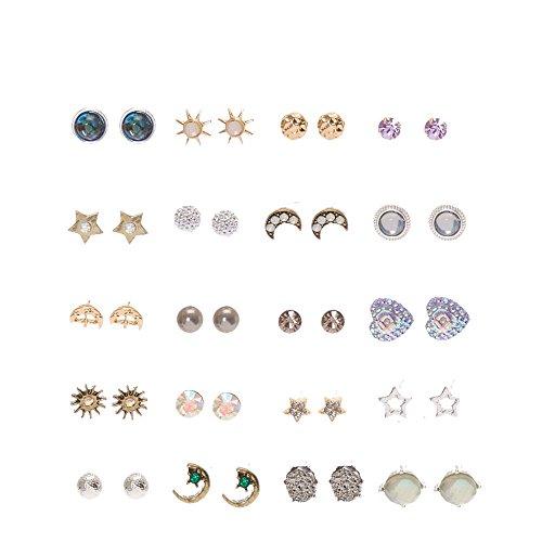 Claire's Girl's Iridescent Celestial Stud Earrings 20 (Celestial Shimmer)