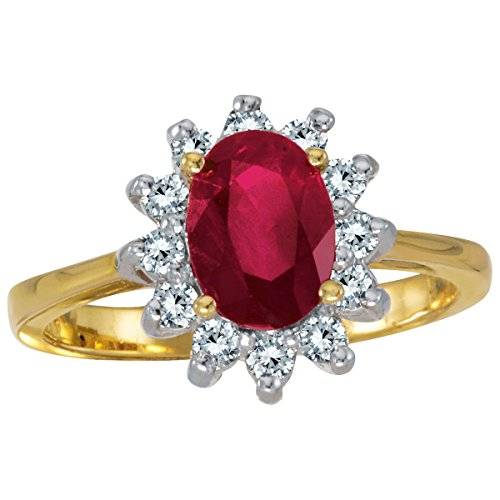 (Jewels By Lux 14k Yellow Gold Oval Ruby And Diamond Ring Size 7 )