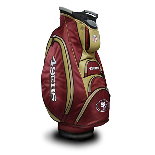 Team Golf NFL San Francisco 49ers Victory Golf Cart Bag, 10-way Top with Integrated Dual Handle & External Putter Well, Cooler Pocket, Padded Strap, Umbrella Holder & Removable Rain Hood