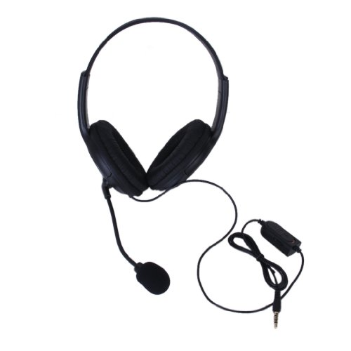 3.5mm Double Earpiece Stereo Headphone Headset Earphone w/Volume Control for PS4 by Generic